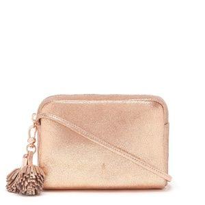 Thacker Crossbody Metallic Rose Gold Pompom Bag ff7a87fbeb7db